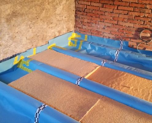 Holzfaser Isolation Boden