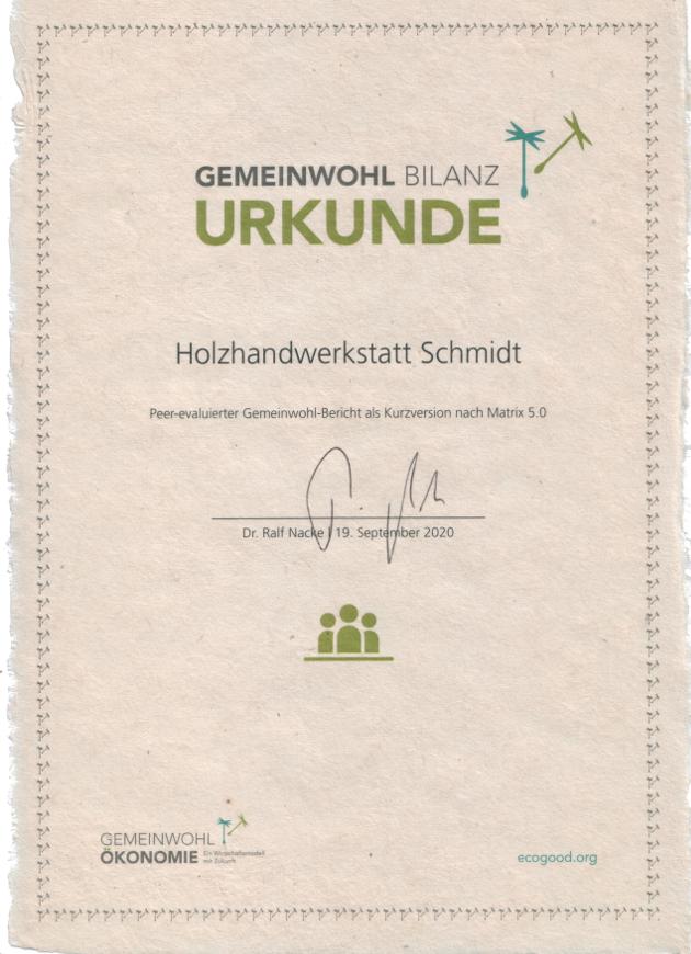GWÖ Zertifikat Holzhandwerkstatt Schmidt